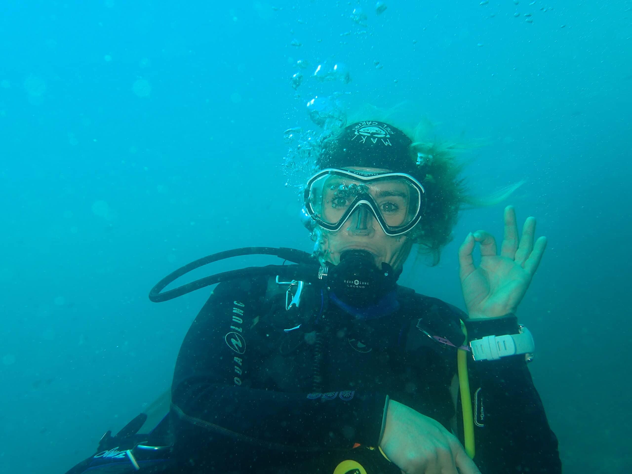 vidage de masque en plongée